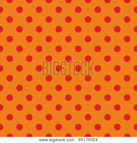 Tile vector pattern, texture or background with seamless red polka dots on orange background