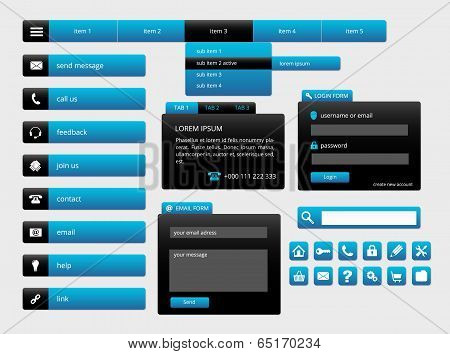 Modern Black And Blue Web Ui Elements