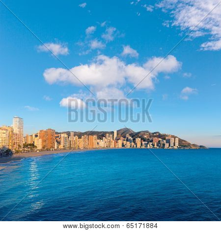 Benidorm Alicante playa de Levante beach sunset in spain Valencian community