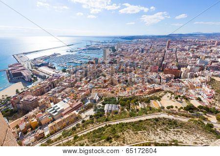 Alicante skyline aerial view