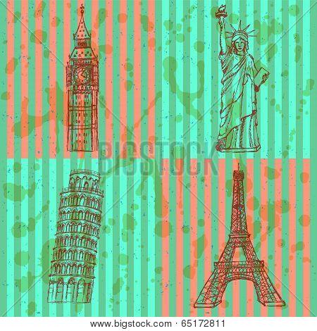 Sketch Eiffel Tower, Pisa Tower, Big Ben And Statue Of Liberty, Vector Set