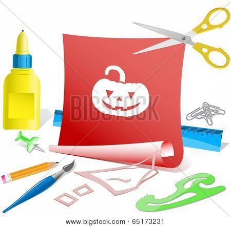 Pumpkin. Paper template. Vector illustration.