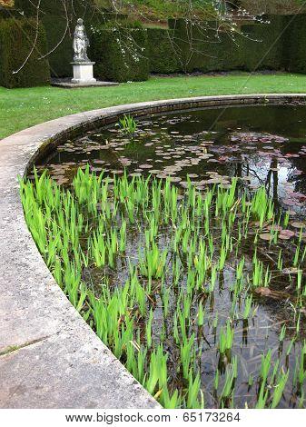 Pond Snd Statue Garden Landscape