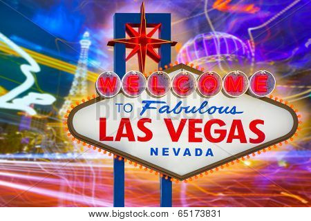 Welcome to Fabulous Las Vegas sign sunset with Strip background Nevada photo mount