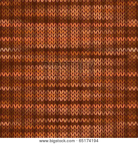 Seamless Knitted Melange Pattern. Orange Brown Color Vector Illu