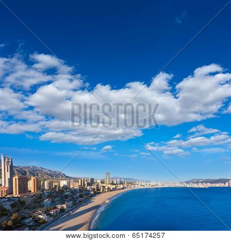 Benidorm alicante skyline high angle view of Poniente beach playa at spain