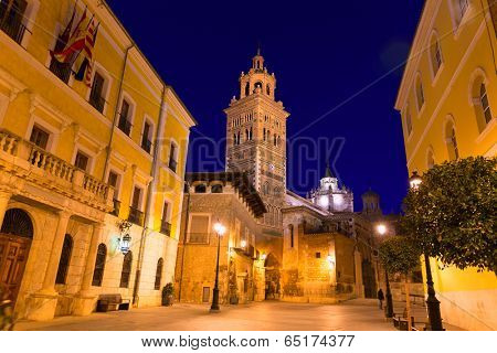 Aragon Teruel Cathedral Santa Maria unesco and City town hall at Spain