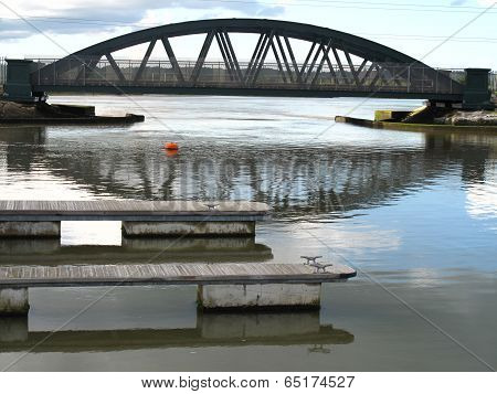 Railway Bridge And River Harbour