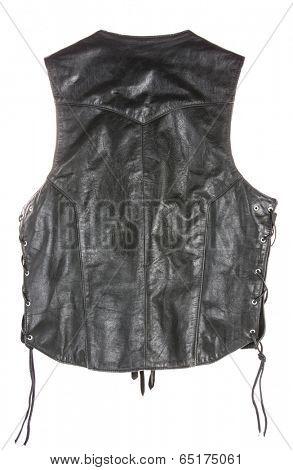 Vintage Leather biker jacket vest custom made from back isolated on white