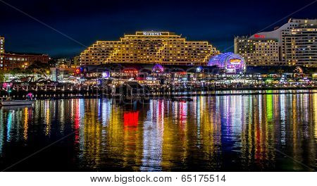 Sydney, Australia -17th may 2014: restaurants illuminated during night at darling harbour