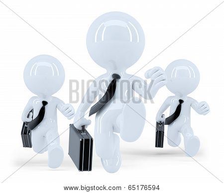 Running Business Team. Business Competition Concept. Isolated. Contains Clipping Path