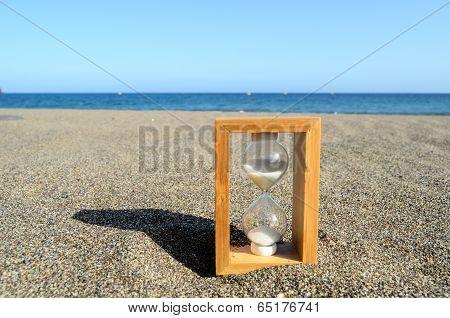 Hourglass on a Beach