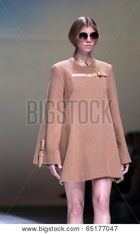 ZAGREB, CROATIA - MAY 09: Fashion model wearing clothes designed by Kralj and Krajina on the Zagreb Fashion Week on May 09, 2014 in Zagreb, Croatia.