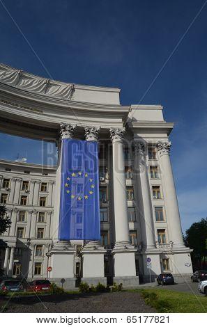 KIEV, UKRAINE -APRIL 28, 2014: The Ministry of Foreign Affairs of Ukraine with EU Flag on April 28 in Kiev. Ukraine