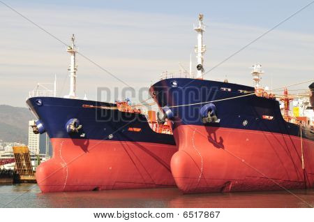 Tankers in shipyard