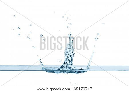 Close up of clean water splash and air bubbles, isolated. Concept of environment and water element
