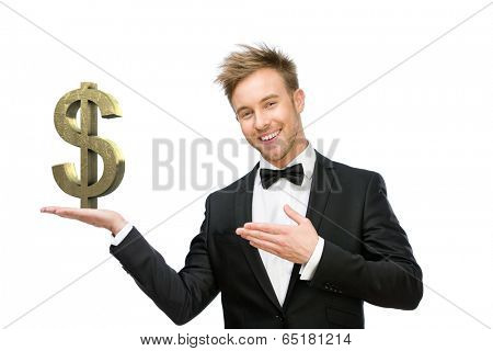 Half-length portrait of business man pointing at dollar sign, isolated on white. Concept of leadership and success
