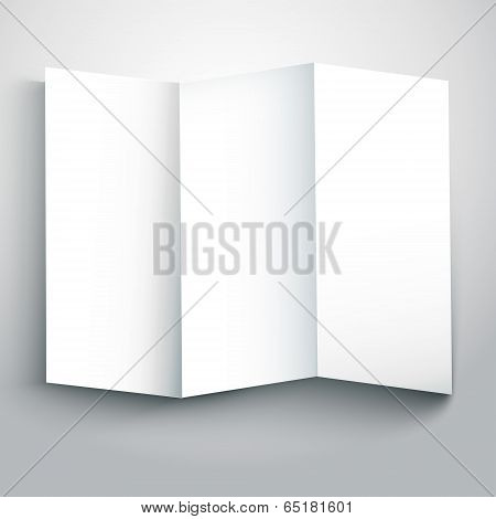 Vector Illustration Of Blank White Folded Flyer