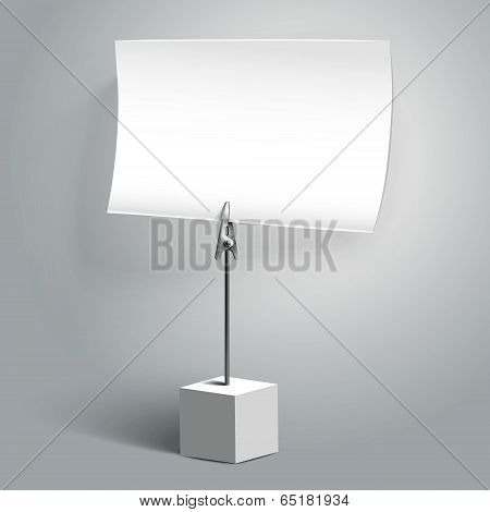 Vector Illustration Of Blank White Memo Clip