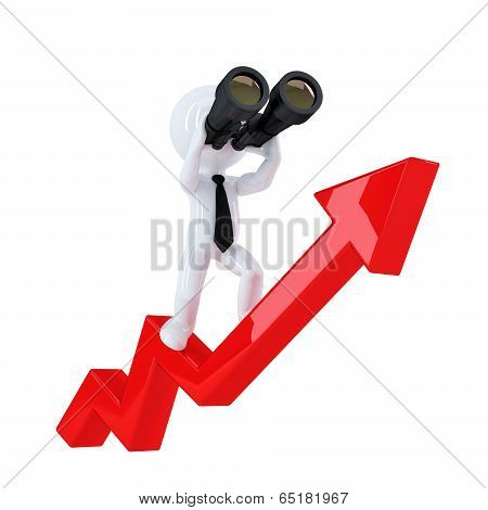 Businessman With Binoculars On Top Of The Graph Arrow. Business Concept. Isolated. Contains Clipping