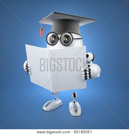 Robot Bachelor With Blank Book.