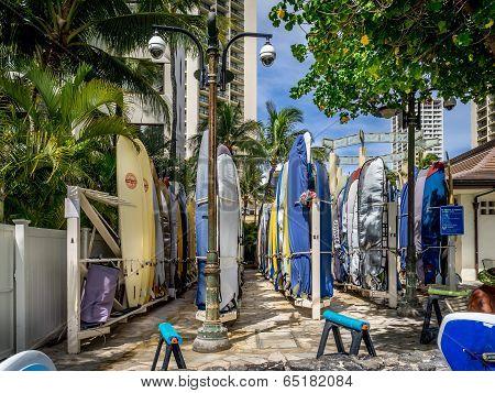 Surfboard storage on Waikiki