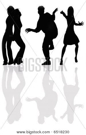 People's Dancing Silhouette, Isolated On White Background
