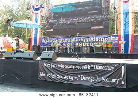 Bangkok - February 2: Empty Protest Stage During Thailand's Protest Against The Government