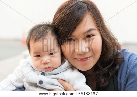 Thai Baby Male Infant With His Thai Mother