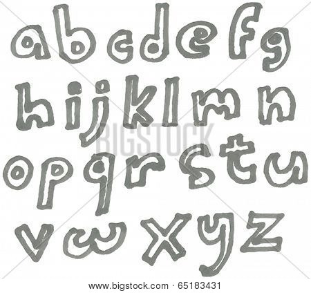 Vector lower case marker alphabet