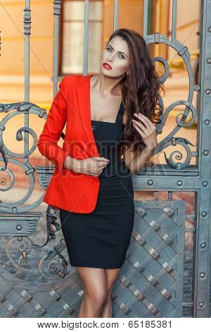 Girl in a red jacket.