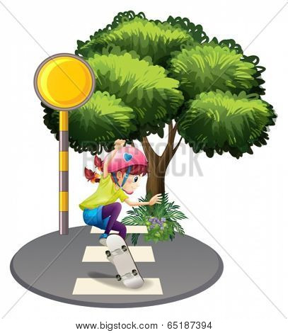Illustration of a girl skating at the pedestrian lane near the big tree on a white background