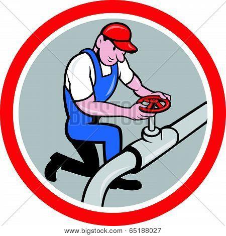 Plumber Pipe Worker Turning On Flow Circle Cartoon