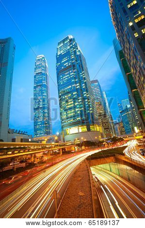 Road Tunnels Light Trails On Modern City Buildings Backgrounds In Hongkong