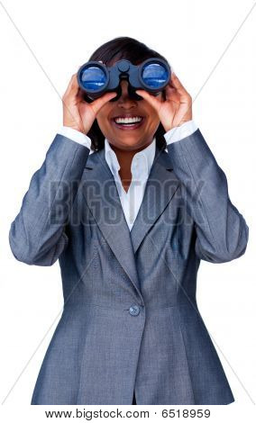 Young Hispanic Businesswoman Using Binoculars