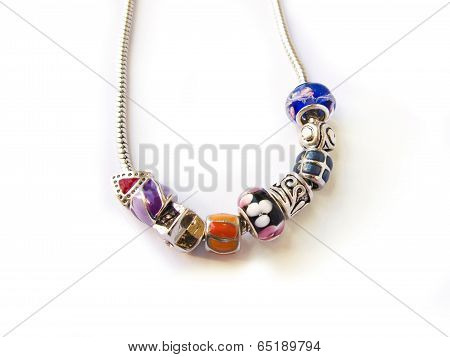 Beads and gems necklace isolated in white