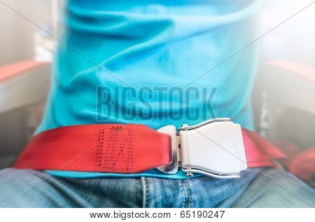 Man Wearing Red Seat Belt. Safety Measures.