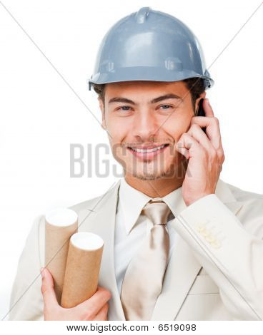 Portrait Of A Young Architect On Phone
