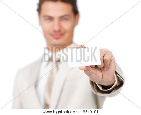 Young Businessman Holding A White Card