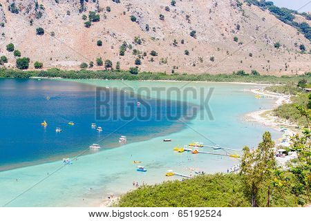 Beach In Village Kavros In Crete  Island, Greece. Magical Turquoise Waters, Lagoons. Travel Backgrou