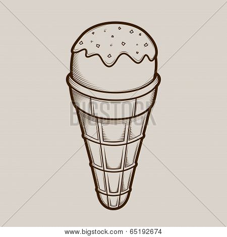 Detailed Graphic Ice Cream Isolated On Light Background. Brown Outlines. Vector Illustration.