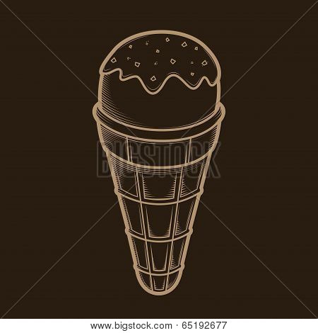 Detailed Graphic Ice Cream Isolated On Dark Background. Beige Outlines. Vector Illustration.