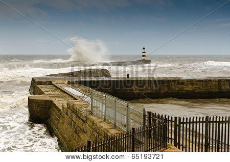 Seaham Harbour In Rough Seas