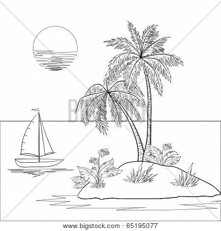 Island with palm and ship