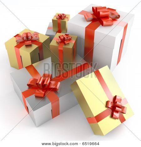 Pile Of Gifts Isoleted On White