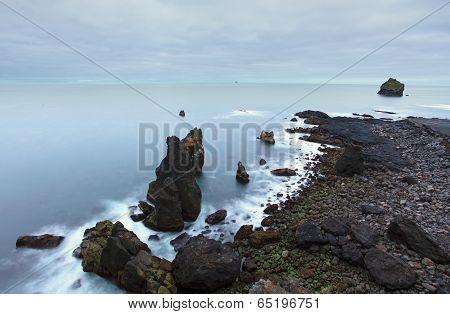 Coastal Rocks On The South West Point Of Iceland, Reykjanes