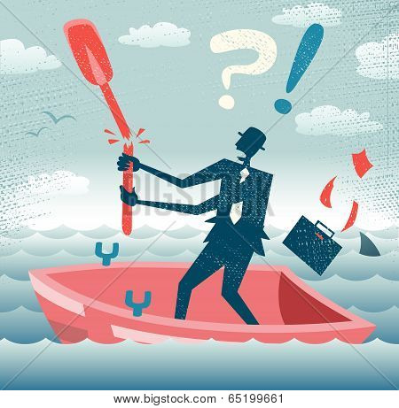 Abstract Businessman Is Without A Paddle.eps