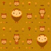 stock photo of gopher  - vector funny seamless pattern with gophers and owls - JPG