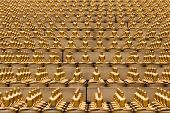 stock photo of figurines  - Million golden Buddha figurine in Wat Phra Dhammakaya - JPG