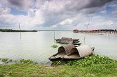 picture of bangladesh  - In the rainy season on the outskirts of Dhaka capital of Bangladesh all fields are filled with water - JPG